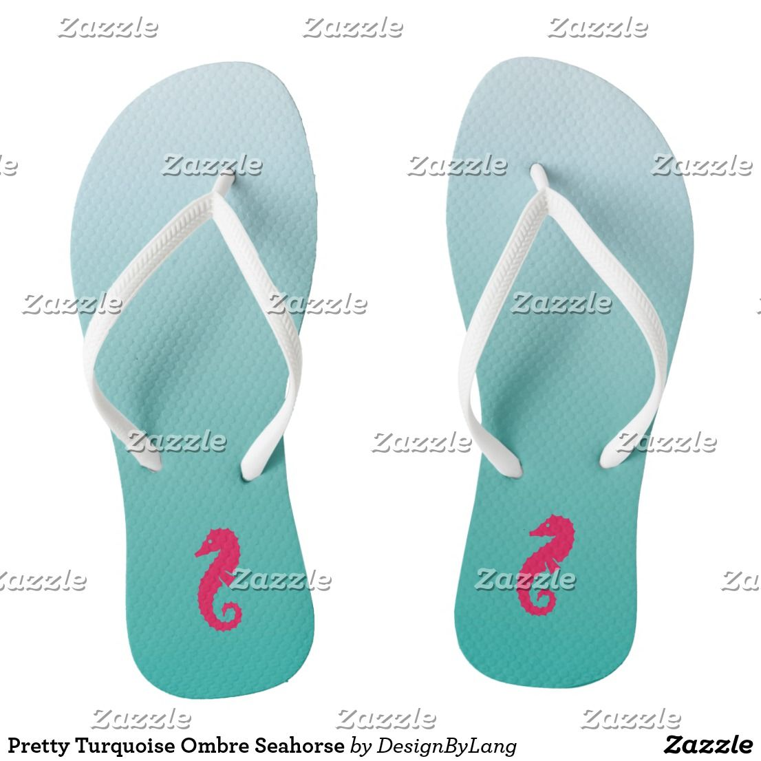 a3e1cfcac4ba2a Pretty Turquoise Ombre Seahorse Flip Flops