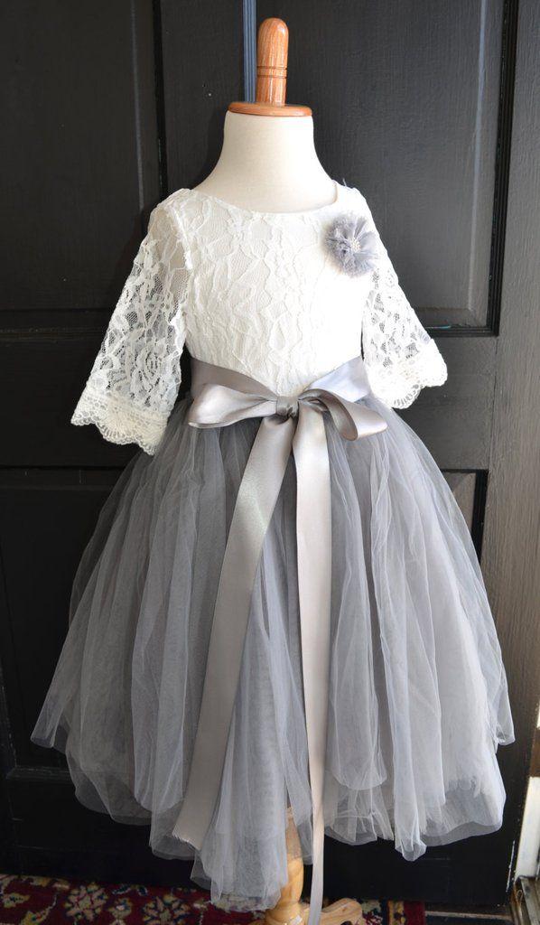 917a715b0 Flower girl Tutu dress, Girls Dove Grey Long Tulle Skirt lace blouse, Gray  Tutu, Skirt blouse set, Flower girl dress, Mercury
