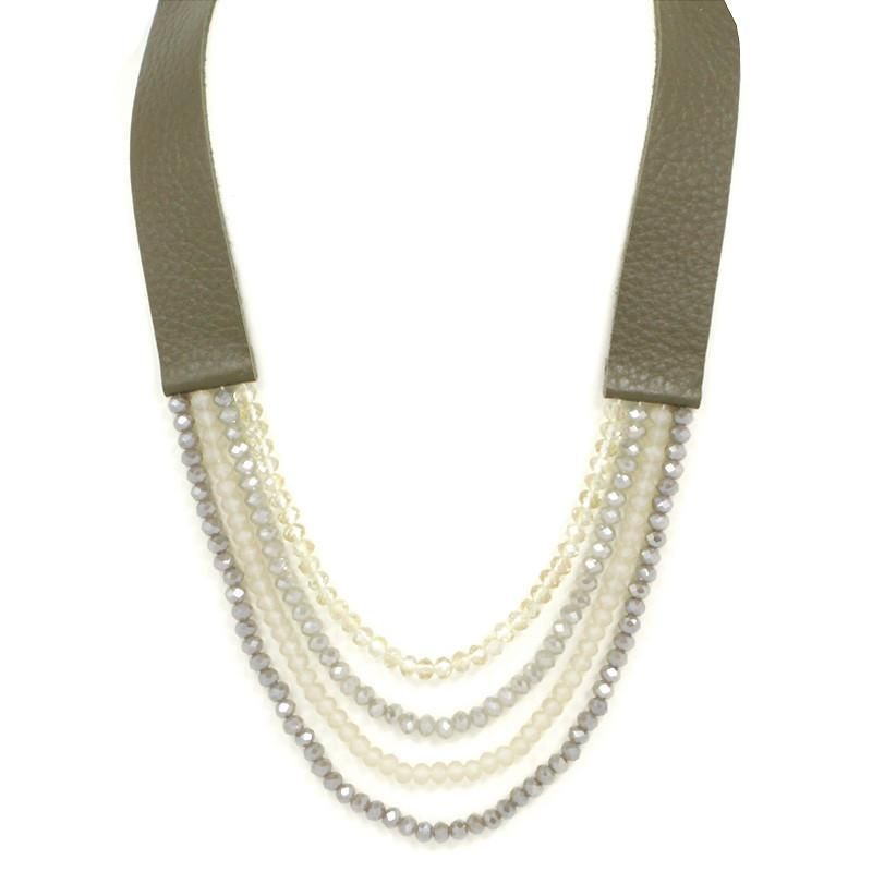 Multi Layered Glass Beads Leather Strand Necklace