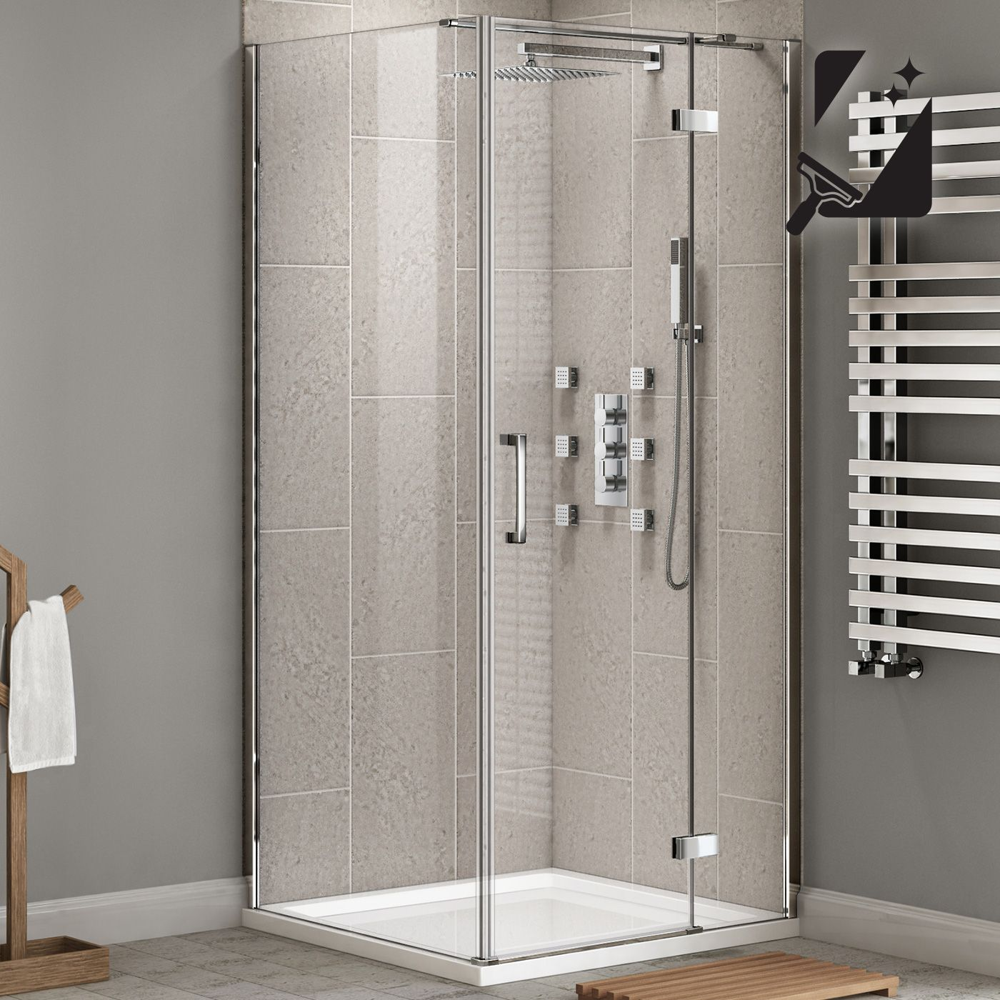 900x900mm EasyClean Hinged Door Shower Enclosure 8mm thick glass ...