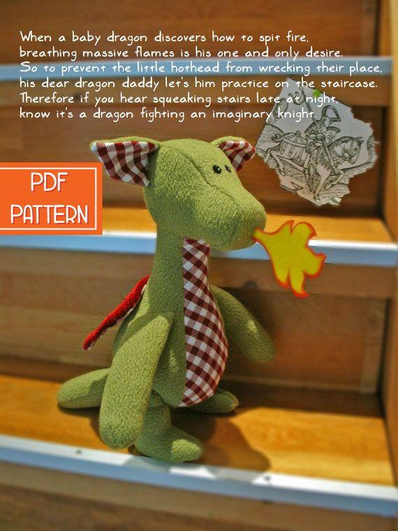 Naaipatroon - Knuffel Draak - Digitaal ; download & print direct ...