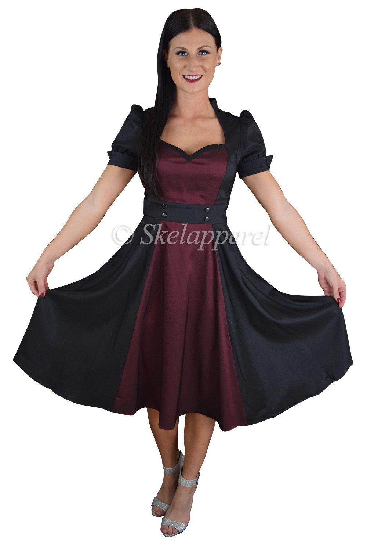 Retro vintage us queen of hearts black u burgundy two tone satin