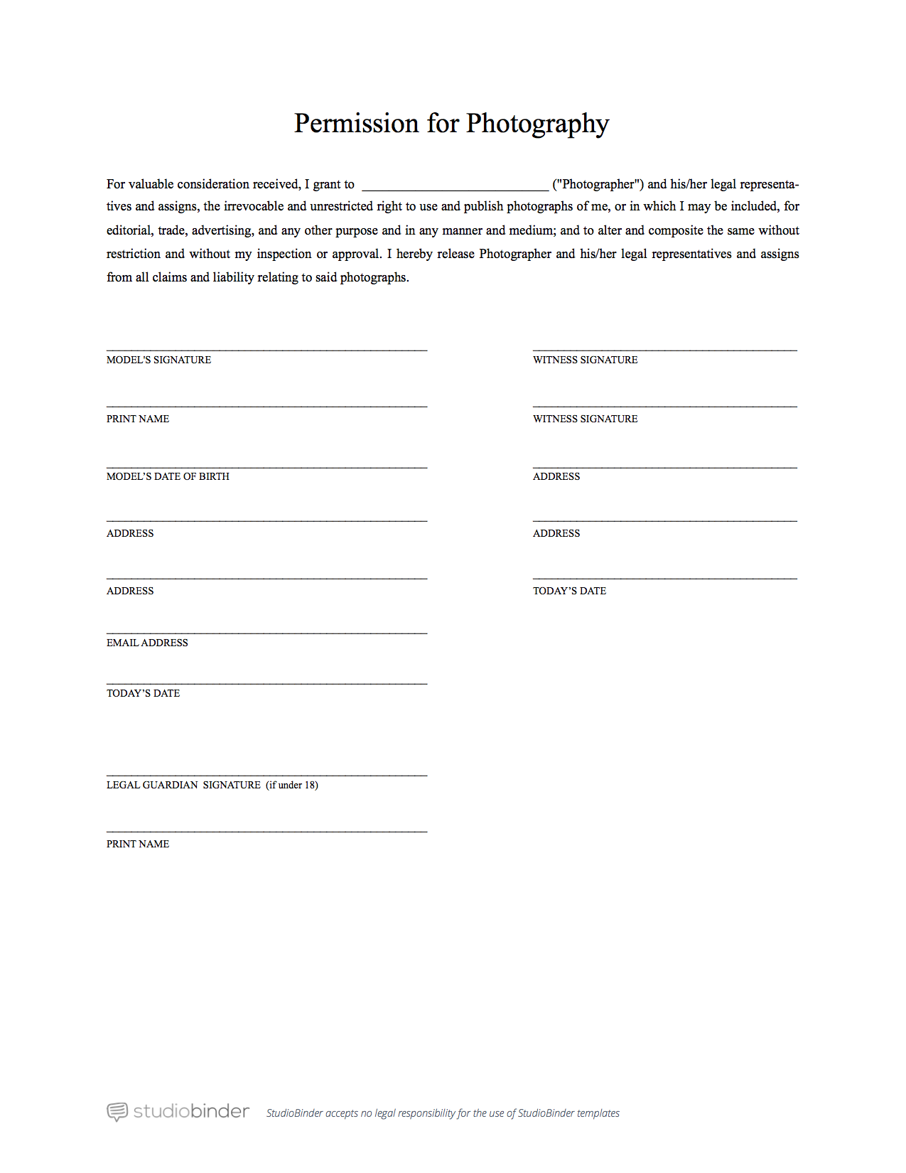 Simplified Model Release Form This simple model release form is a ...