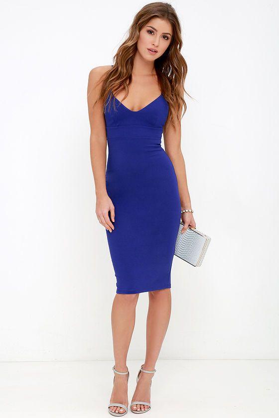7f2affbd0d Don t Tell  Em Royal Blue Bodycon Midi Dress at Lulus.com!