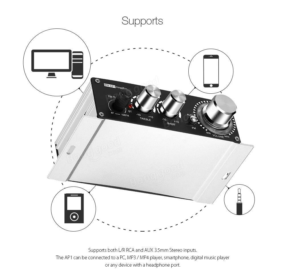 BlitzWolf® BW-AP1 20W Mini 12V Hi-Fi Audio Stereo Power Digital Car Amplifier FM MP3 Sale - Banggood.com