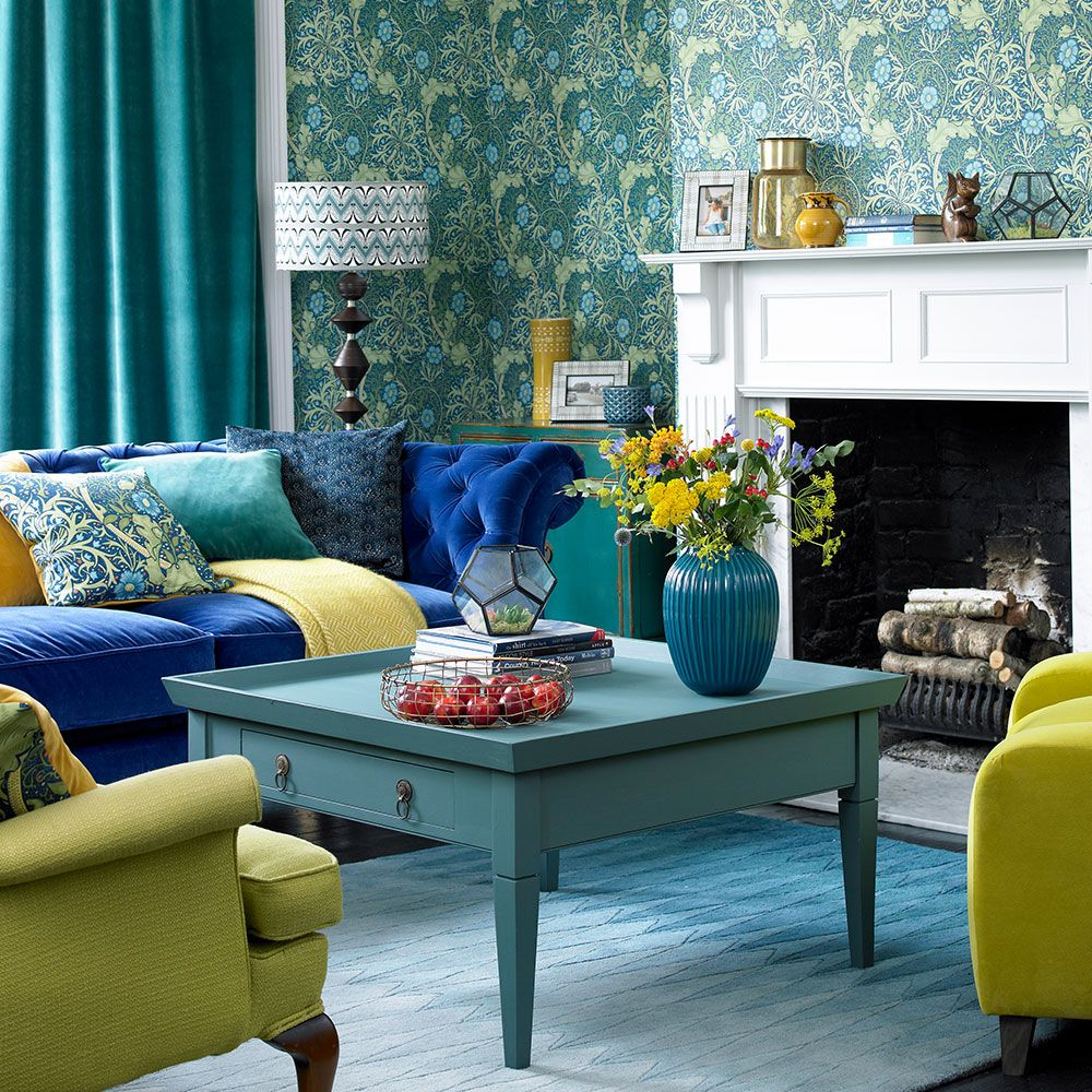 Green Living Room Ideas For Soothing Sophisticated Spaces: Blue And Green Living Room With Zesty Colour Hits In 2020