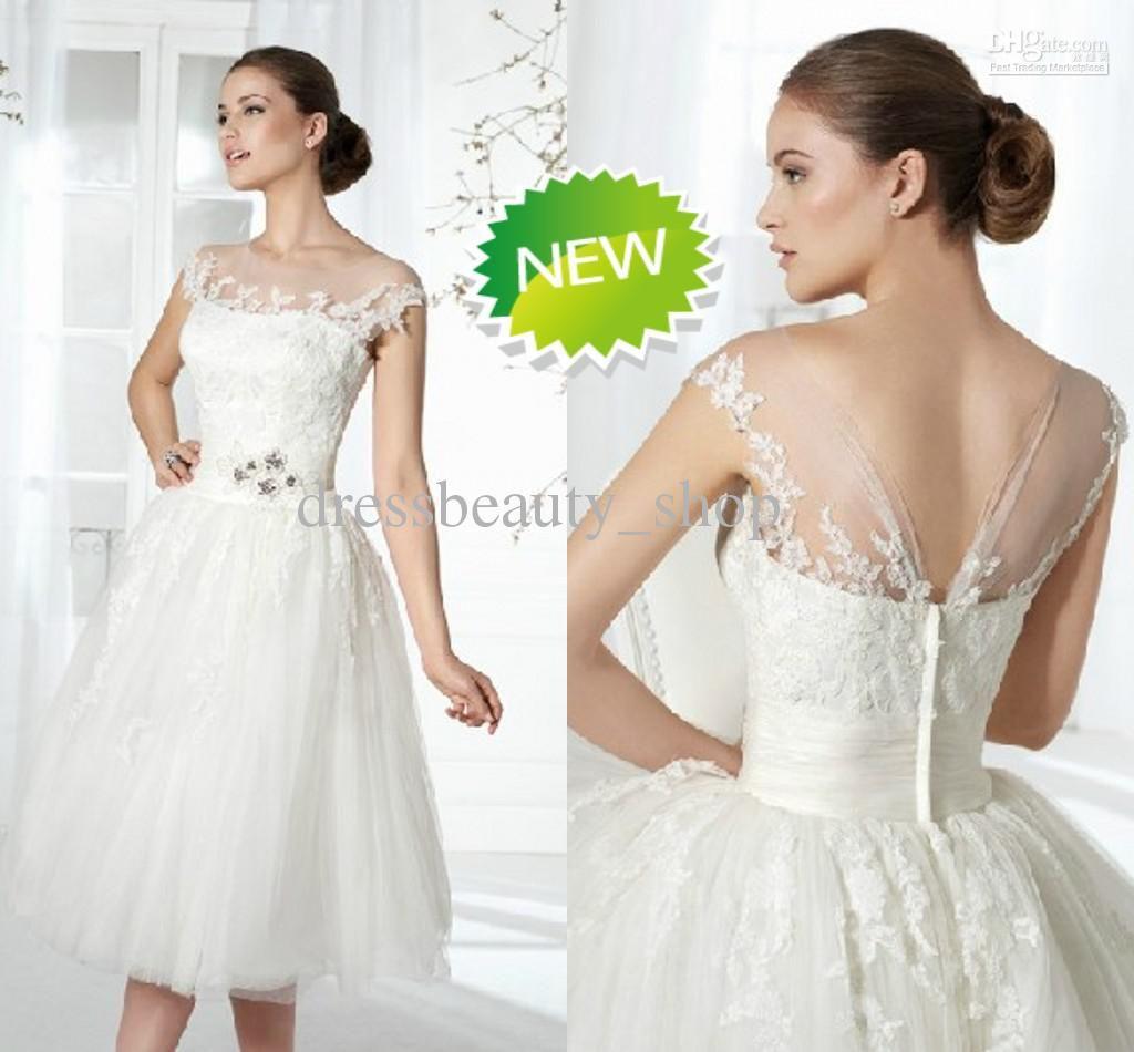 short ball gown beach wedding dresses tea length bateau sexy