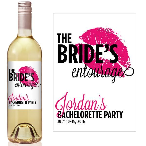 Wedding Entourage Hairstyle: Brides Entourage Bachelorette Party Wine Label