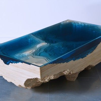 Handcrafted Using High Grade Wood And Glass, This Dramatic Coffee Table  Introduces The