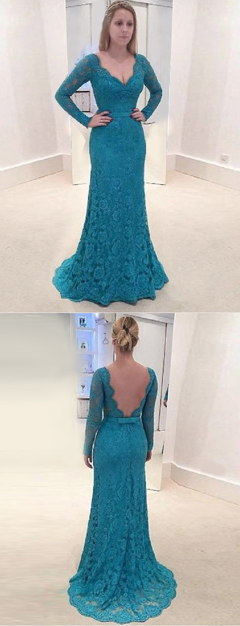 Mermaid Backless Turquoise Lace Mother Of The Bride Dresses with ...
