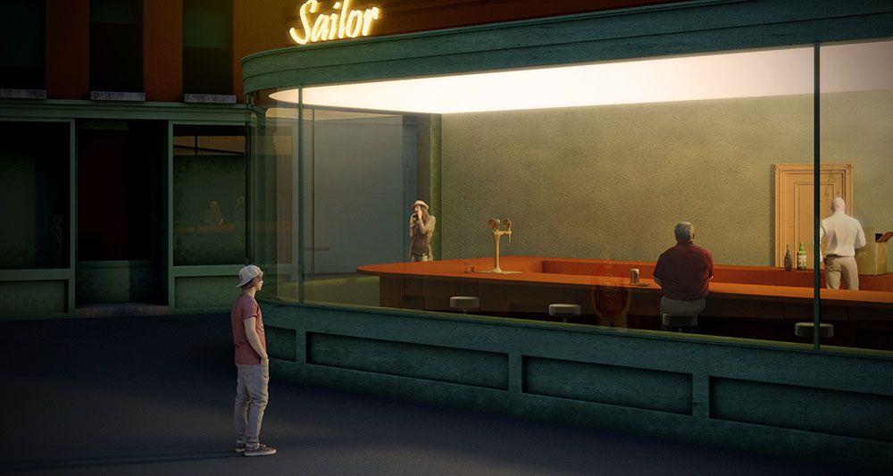 """NIGHTHAWKS"" Edward Hopper, 1942 - 3D salvatore millitari"