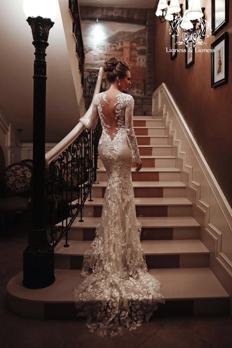 Photo of Classy lace wedding dress, lace slinky mermaid, illusion open back, lace long sleeves, embroidered deep lace v-back, long lace train /Anna