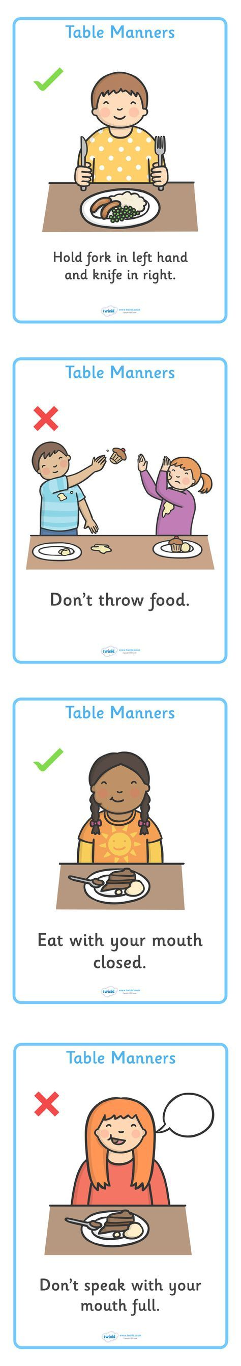 Twinkl Resources >> Table Manners Rules Display Posters