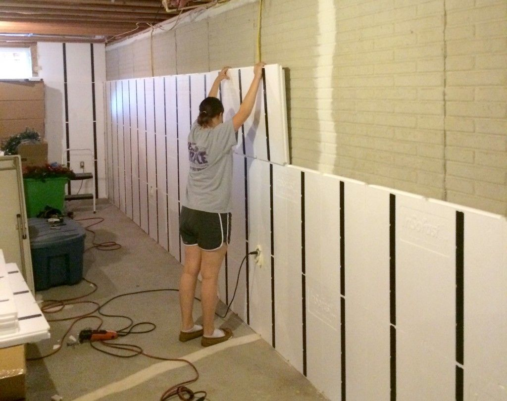Floor To Ceiling Insulation In A Brick Wall Basement Finishing Basement Walls Unfinished Basement Walls Basement Wall Panels