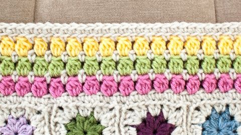 Cluster Burst Afghan Crochet Edging Pattern | Crochet borders ...