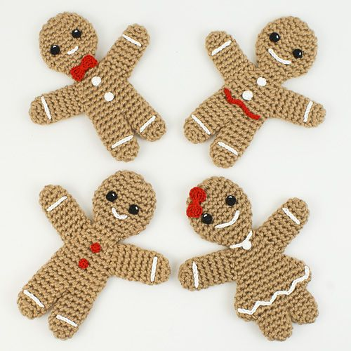 Free Knitting Pattern For A Gingerbread Man : Gingerbread Family crochet patterns by PlanetJune Amigurumi Christmas Pin...