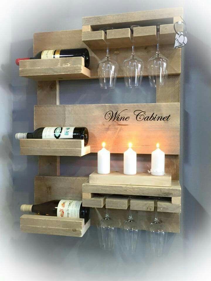 Verbazingwekkend Steigerhouten wijnrek (met afbeeldingen)   Wijnrek, Wijnrek muur DX-31