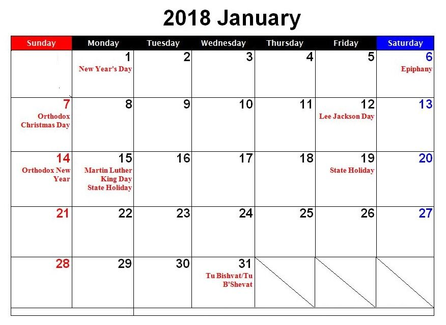 January 2018 USA Holidays Calendar MaxCalendars Pinterest