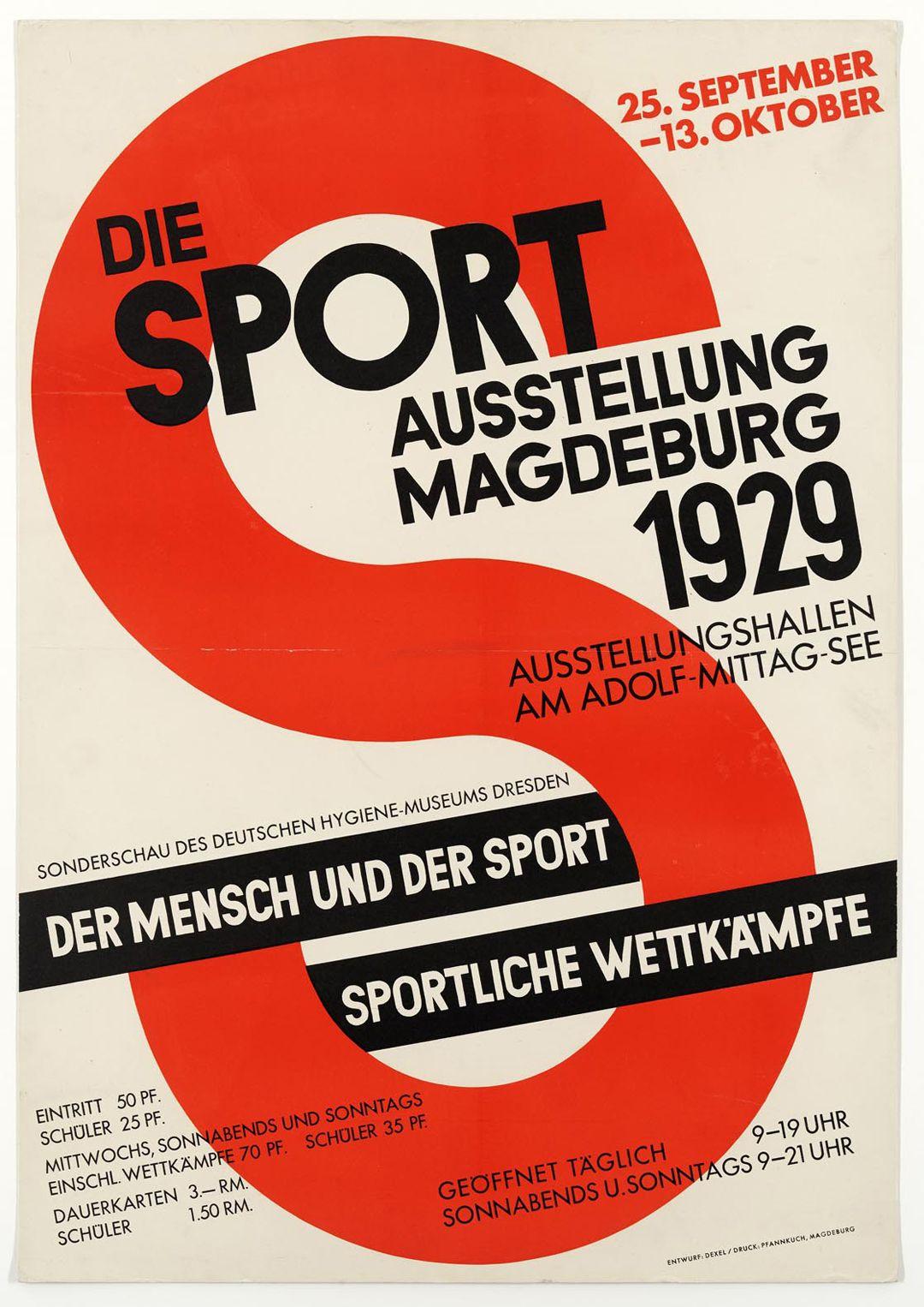 Muestra de la Exposición: 'Maramm Magdeburg – Modern Advertising and Exhibition City'. Walter Dexel, The Sport exhibition Magdeburg 1929. Poster © Nachlass Walter Dexel.