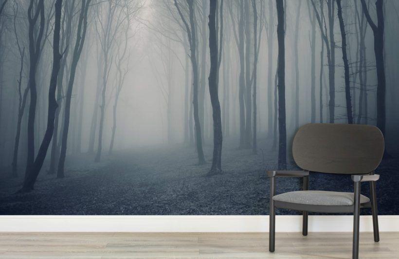 Grey Mist Forest Mural Wallpaper