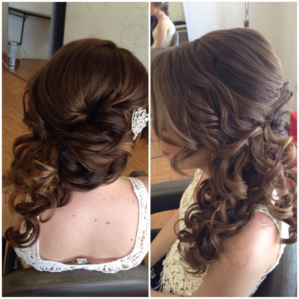 bridal hair, wedding hair, side swept updo, side ponytail, curly