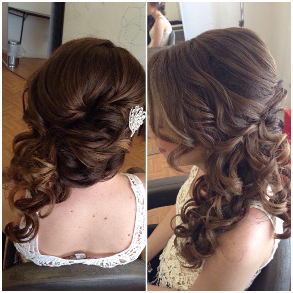 bridal hair, wedding hair, side swept updo, side ponytail