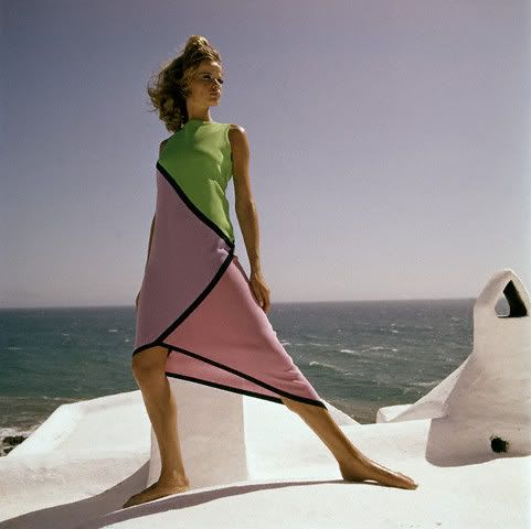 ca. 1966 Henry Clarke ,Veruschka, wearing an asymmetrical cotton jersey dress in geometric shapes of green, lavender, pink and black.