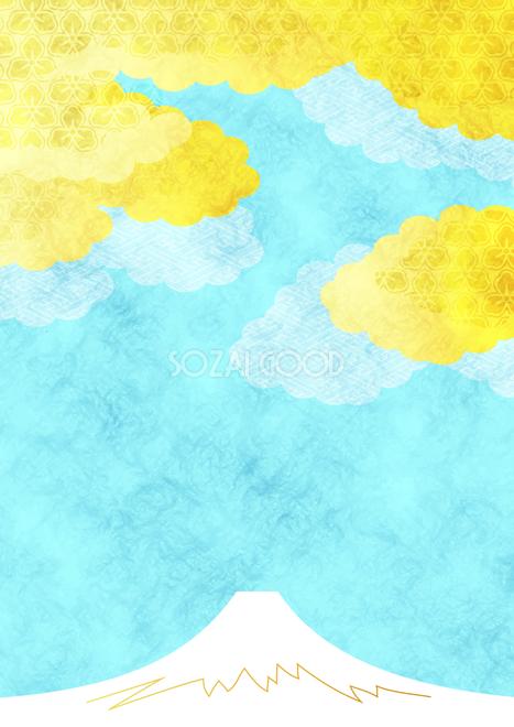 富士山和風の黄金雲年賀状背景無料イラスト81610 素材good 年賀状