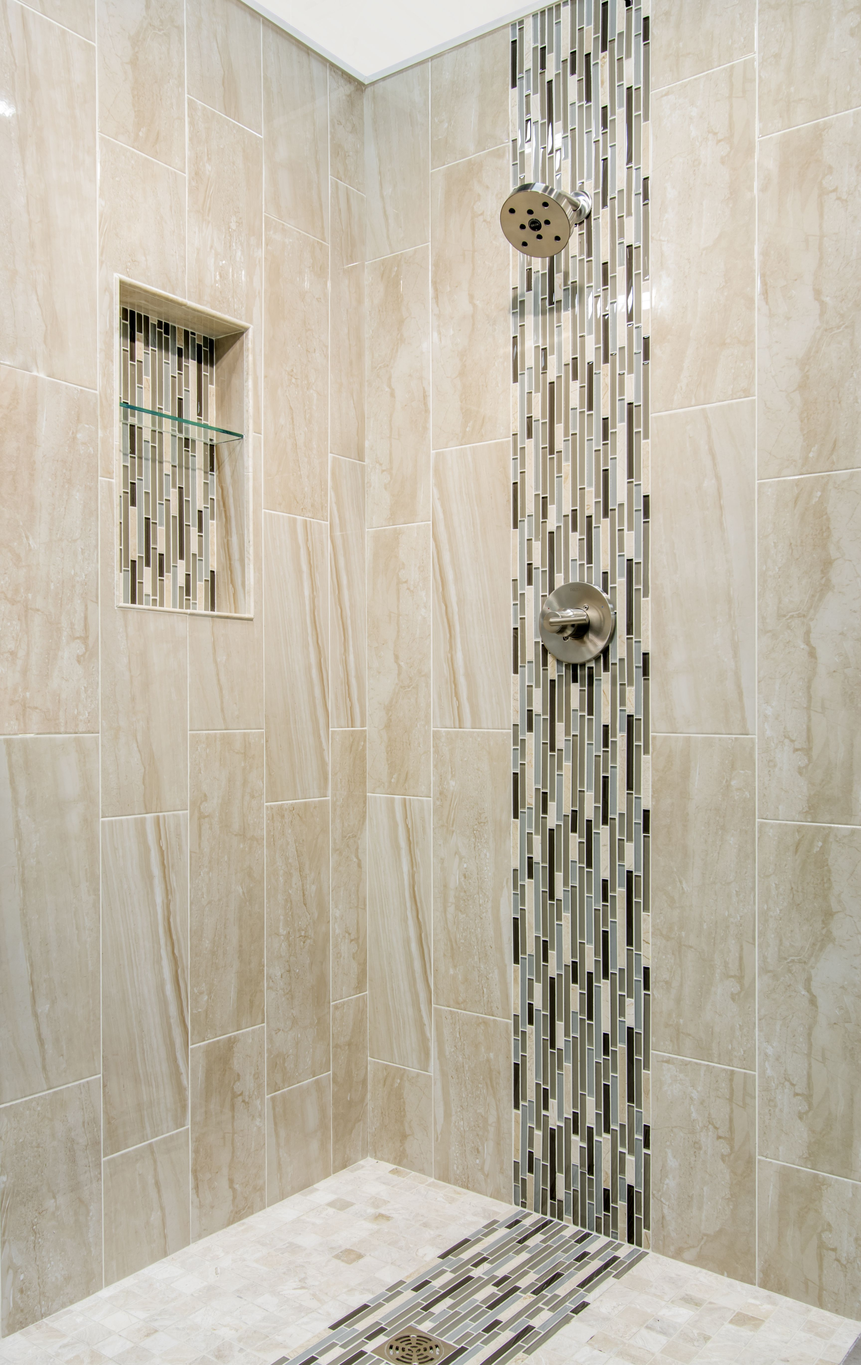 Cappuccino bathroom tiles - Cappuccino Colored Marble Focal Point Bathroom Shower Tile Waldron Stria Glass And Stone Https