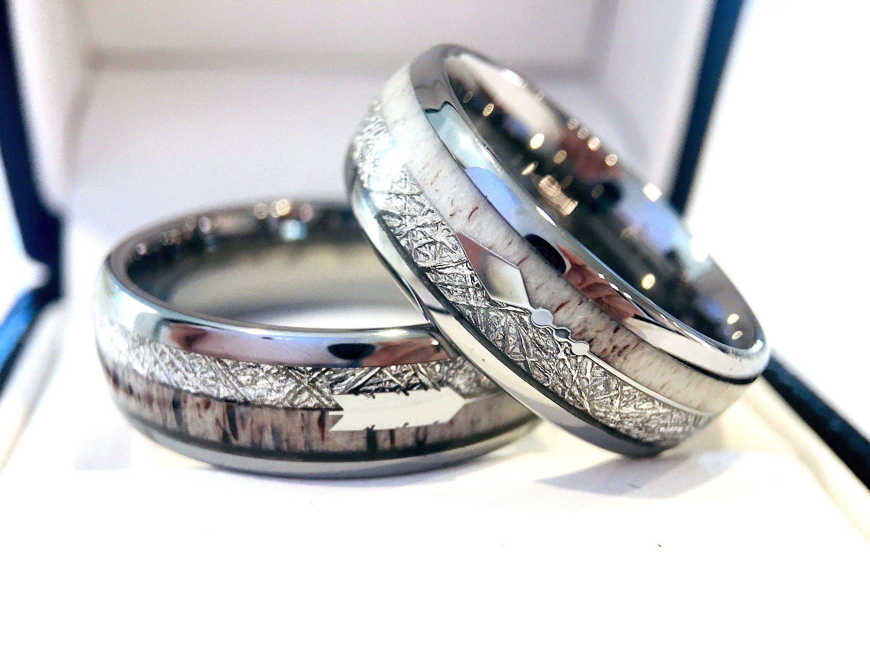 Matching Ring Set Arrow Ring Tungsten Ring Antler Ring