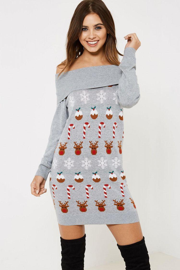fa7f7434465 Fashion Union Novelty Bardot Christmas Jumper - Grey