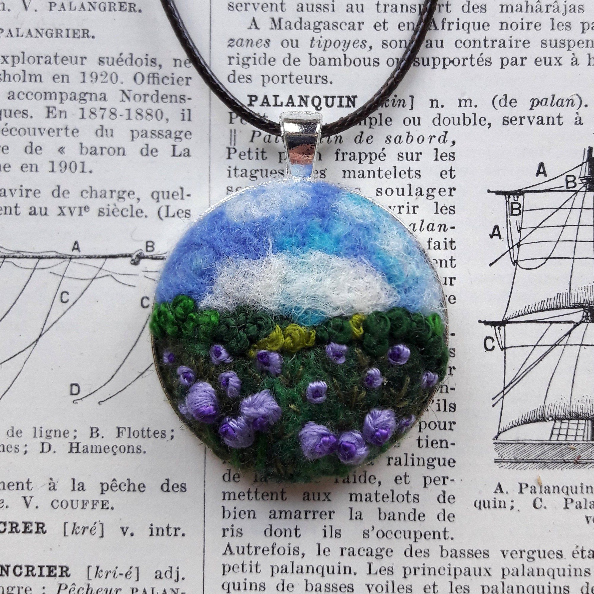 Embroidered Purple Flowers Pendant Keyring Mixed Media Felted Landscape Art Flowers Round Necklace Jewellery Art Unique Quirky Giftart