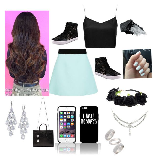 """""""Just hanging"""" by pandagymnast4life ❤ liked on Polyvore featuring Boutique, FAUSTO PUGLISI, Rebecca Minkoff, Gorgeous Cosmetics, Topshop, Carolee and Yves Saint Laurent"""