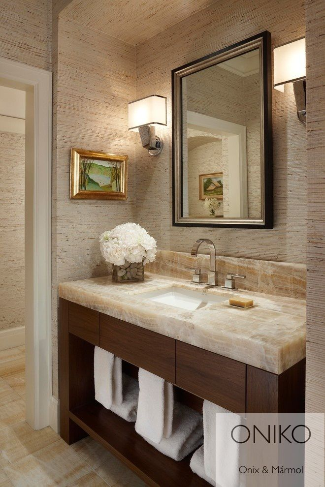Crea espacios elegantes tambi n en tu ba o pared m rmol - Marmol travertino blanco ...