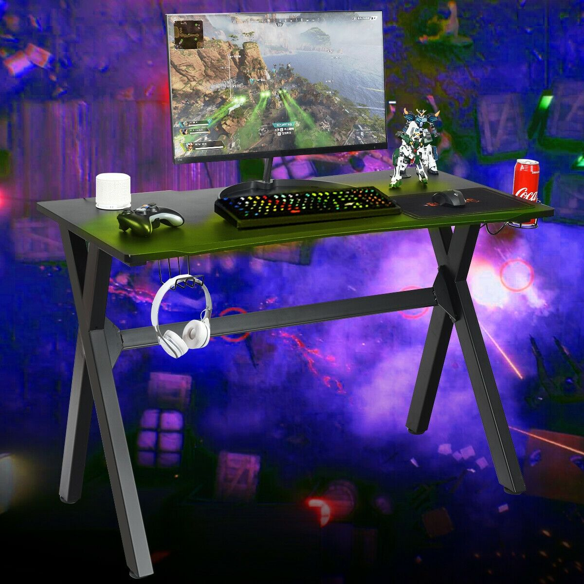 Cup & Headphone Holder and Mouse Pad E-sports Gaming Desk #gamingdesk