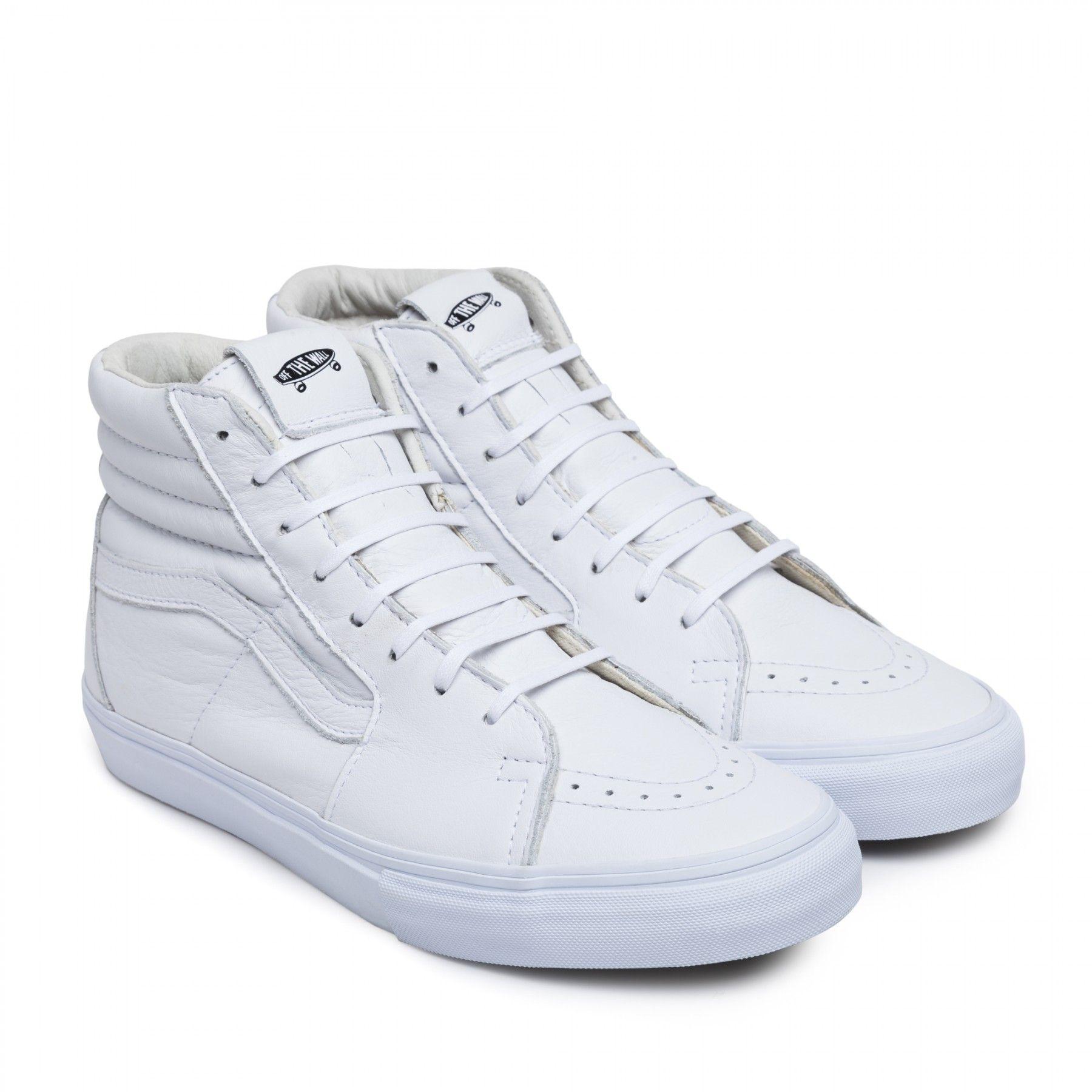 vans sk8 hi leather white