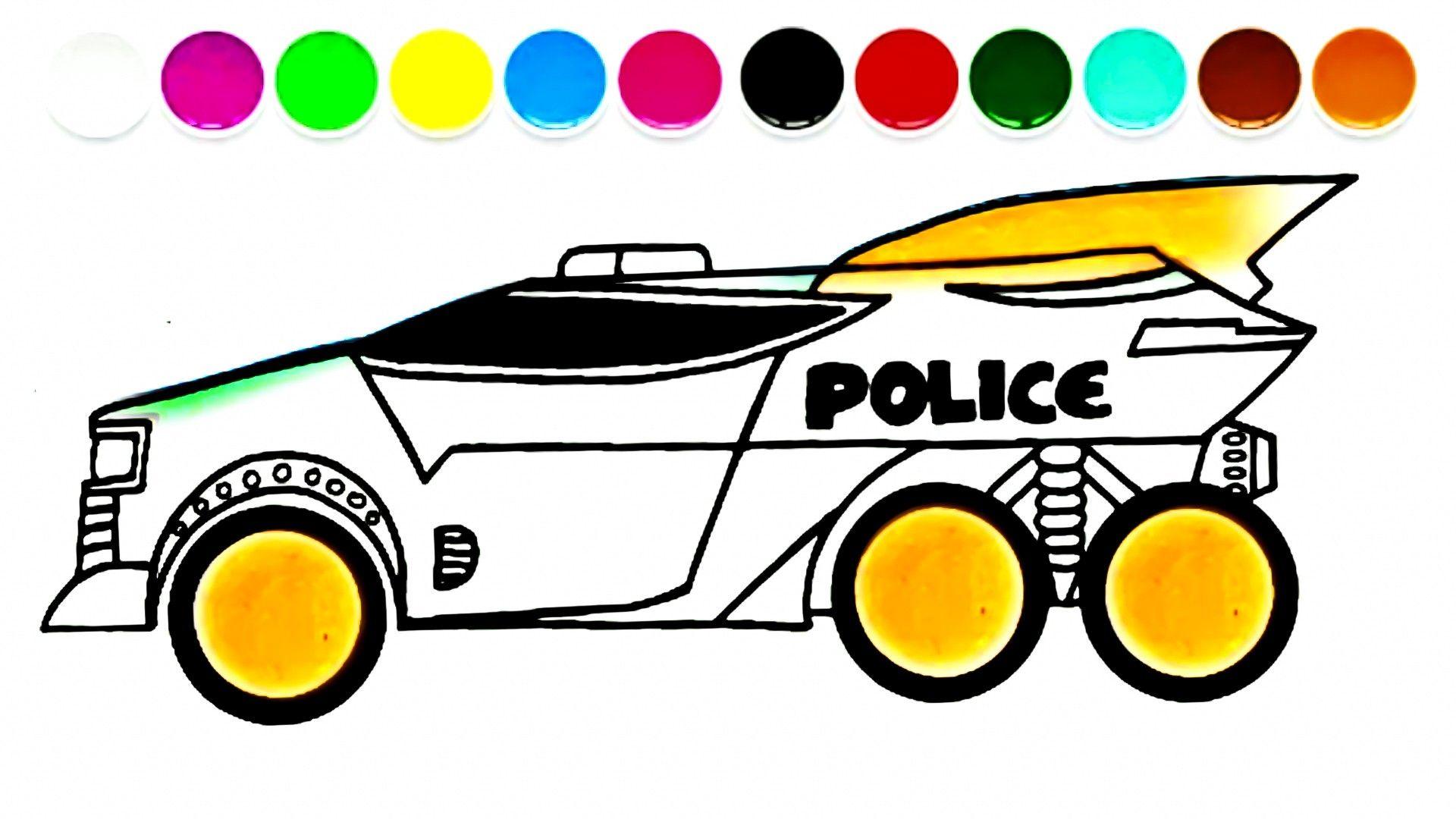 Menggambar Mobil Polisi Mobil Polisi Truk Monster Mobil