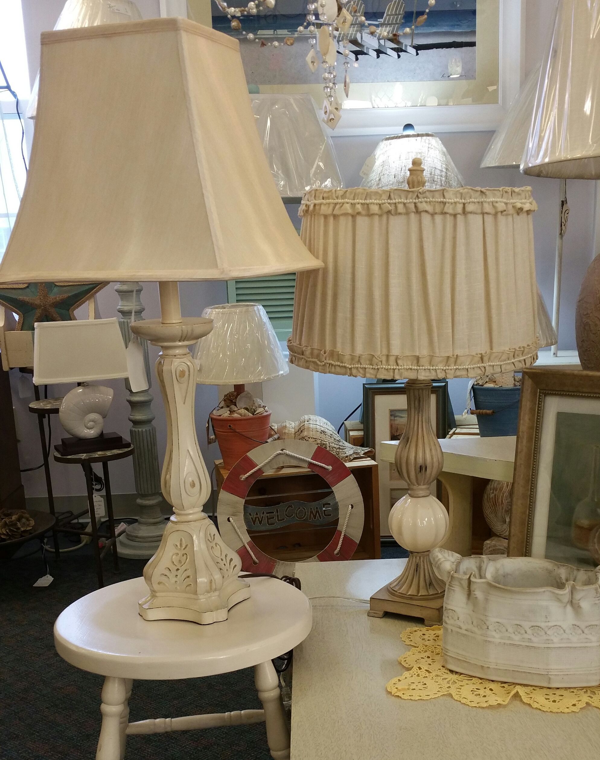 Shabby chic table lamps left antique white chic 17995 right shabby chic table lamps left antique white chic 17995 right cottage pearls 17995 both include the shades rewired for safety 269 345 0967 keyboard keysfo Image collections