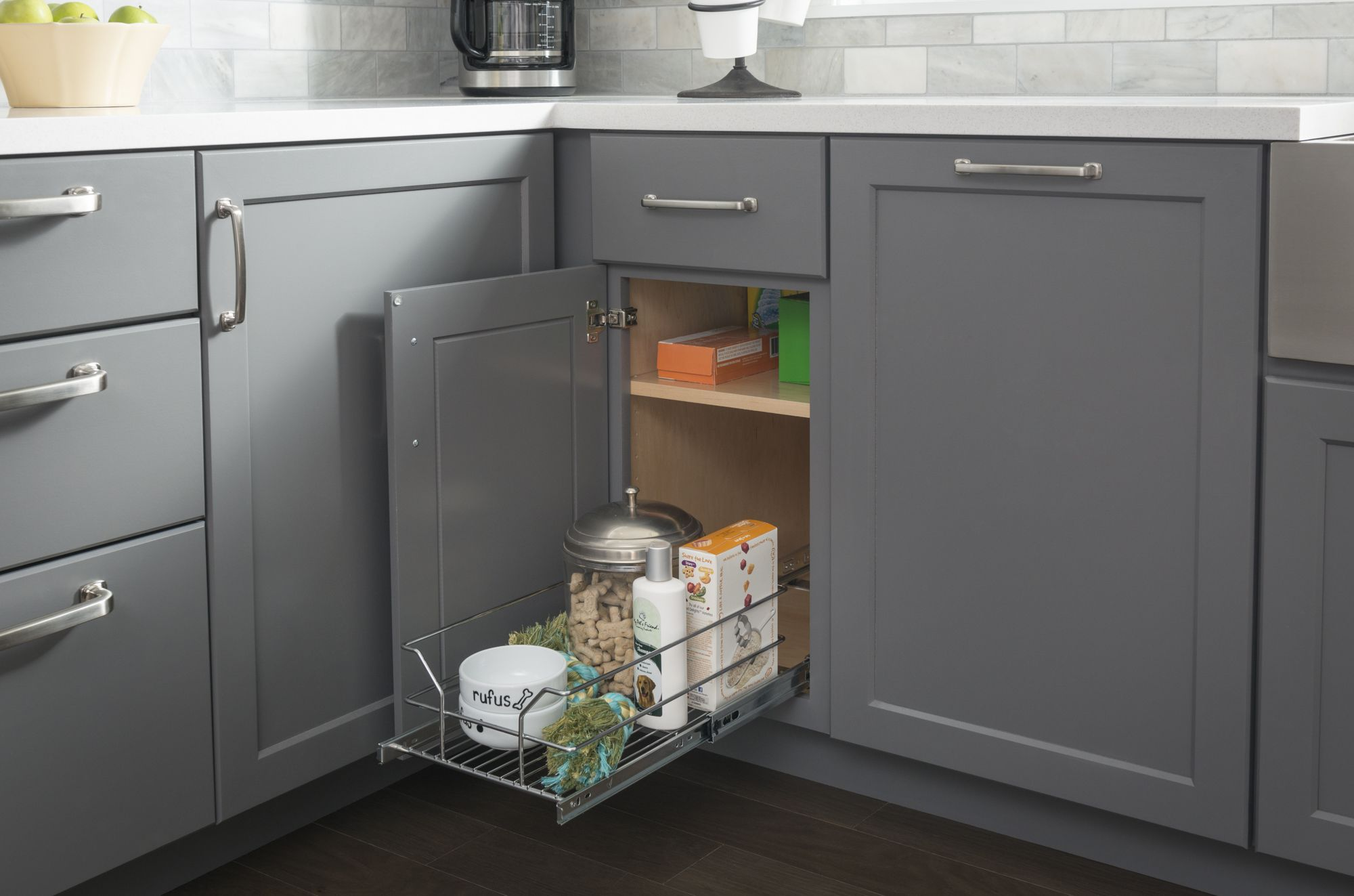 """Metal Basket Pullout Organizer for 15"""" Base Cabinet Installs with 4"""