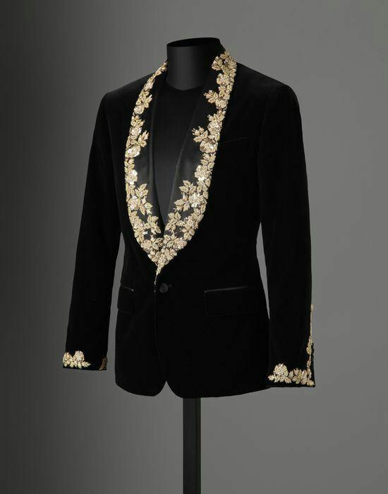 BlackandGold Black velvet and gold floral embroidery suit jacket ...