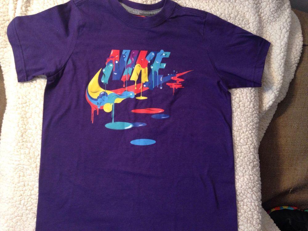 Nike drip paint splash purple fruity pebbles colors t shirt grade school xs l