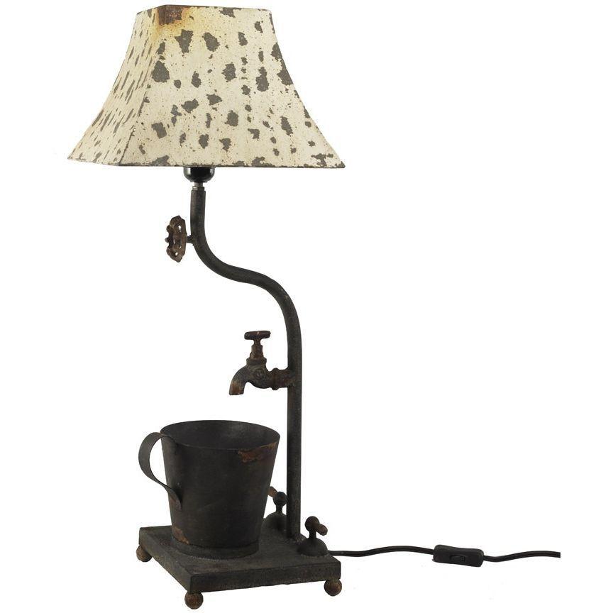 Black Rusty Metal Lamp w/ Water Faucet & Metal Shade | Metals ...