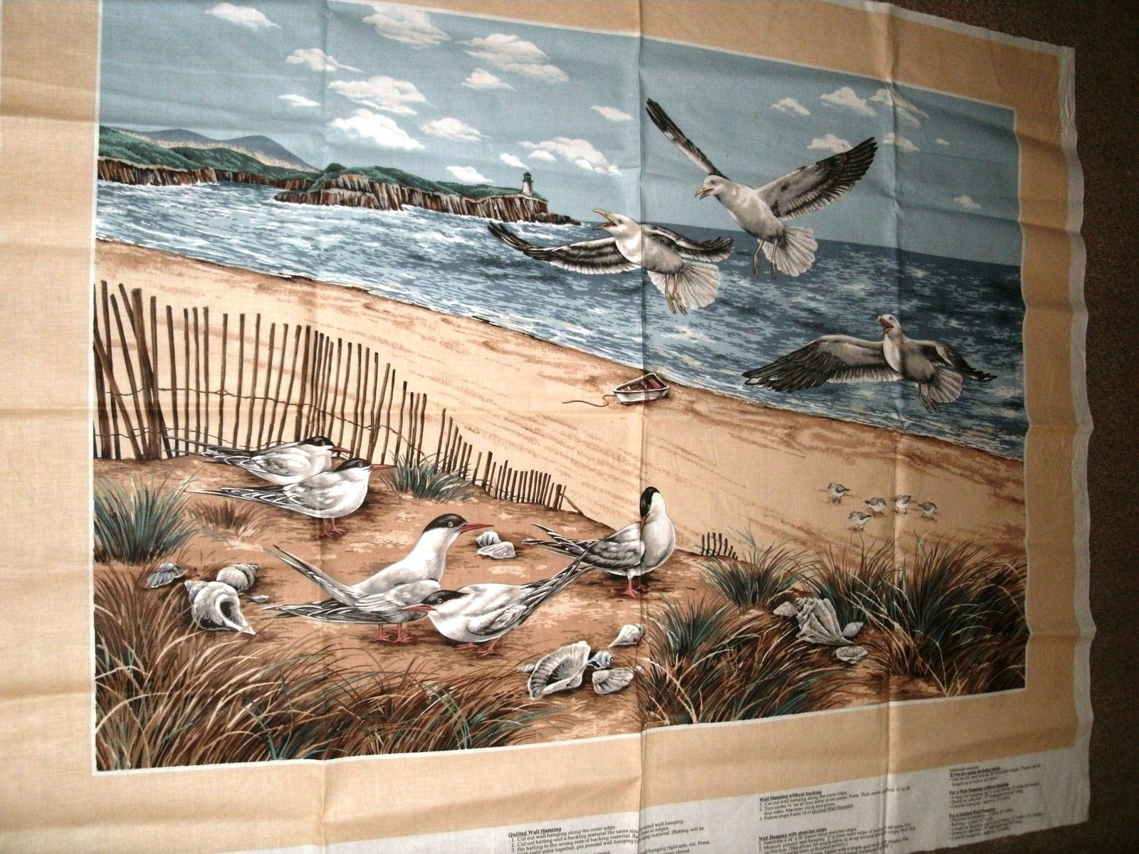 White beach print home decor fabric decorative seashell bty ebay - Shorebirds Collection Panel Beach Scene With Seagulls Size 32 X 44 Cranston Ebay
