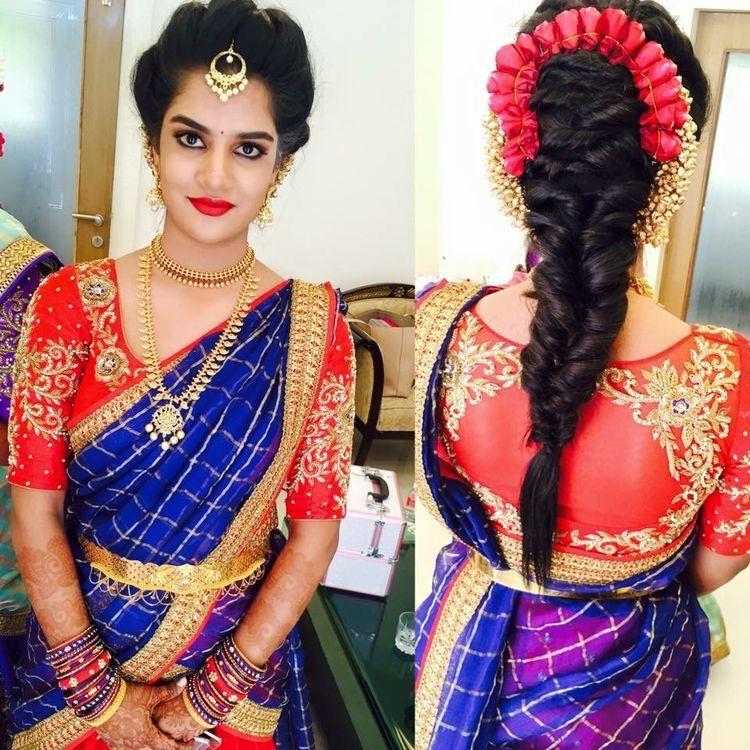 Pin By Navya On Wedding Diaries Saree Designs Indian Wedding Hairstyles Indian Bridal