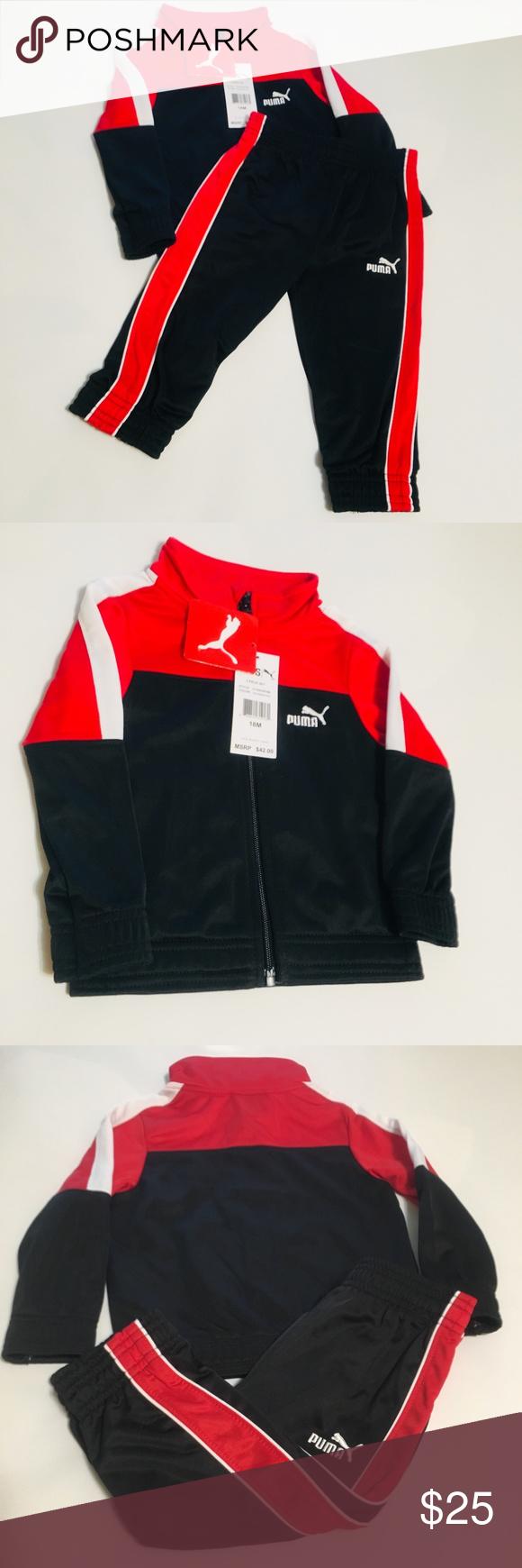 ea6d58a9e910 Puma Infant Boys Jacket   Pant Warm Up Set Puma Infant Boys Black   Red  Jacket