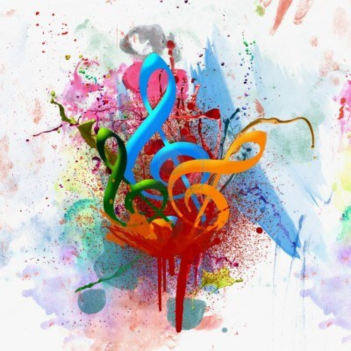 Watercolor Treble Clef Splash Art With Images Musical Art