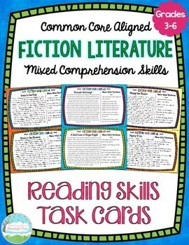 32 half-page fiction comprehension task cards with 4 comprehension questions and tasks on EACH card for a total of 128 comprehension questions! Engage your students in  meaningful practice and review key reading skills!$