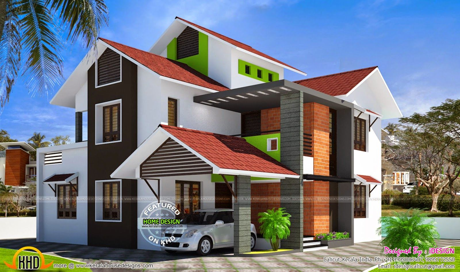Sloping Roof House India   House roof, House roof design ...