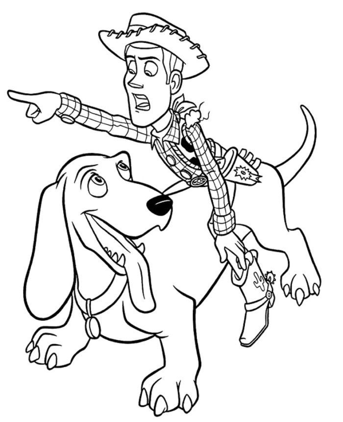 Sheriff Woody And Slinky Dog | Toy story Coloring Pages | Pinterest