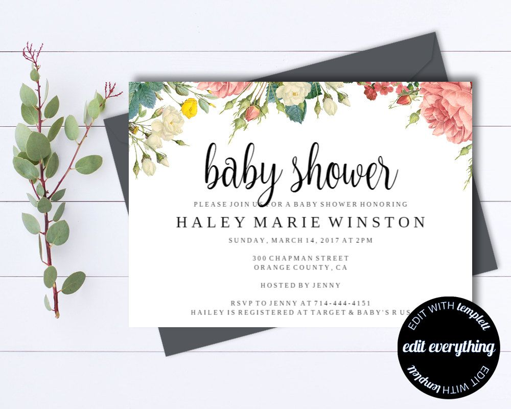 Floral Baby Shower Invitation Template - Floral Baby Shower ...